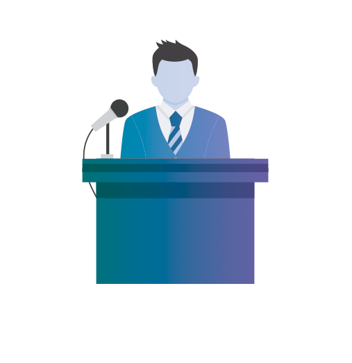 Events man at podium graphic